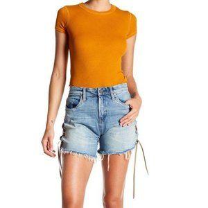 NWT! BLANKNYC Lace Up Light Wash Denim Shorts, 30